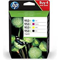 HP 3HZ52AE 953XL High Yield Original Ink Cartridges, Black/Cyan/Magenta/Yellow, Pack of 4