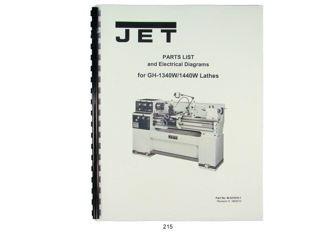 Jet GH-1340W/1440W Lathe Parts List & Electrical Diagrams Manual: Jet:  Amazon.com: Books