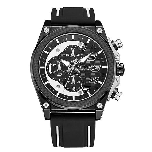 Megir reloj hombre de moda cronómetro deportivo grande de silicona resistente al agua hombre reloj militar de marca color de negro y blanco: Amazon.es: ...