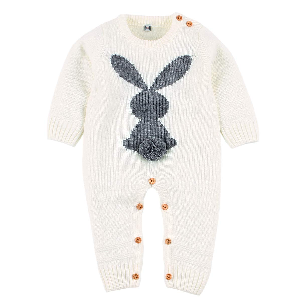 Baby Girls Boys Rompers Cute Rabbit Bunny Knitted Long Sleeve Jumpsuit One Piece Autumn Winter Kids Clothing