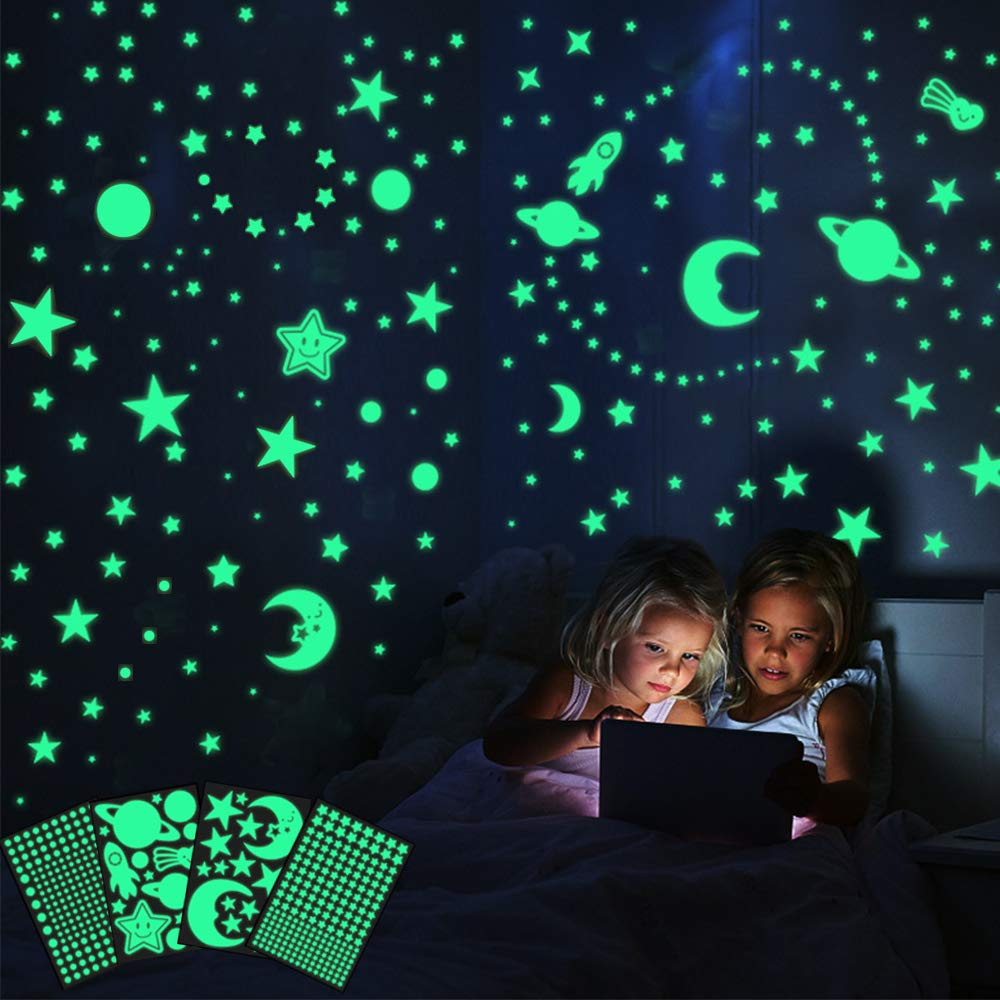 445Pcs Glow in The Dark Stars Moon Wall Stickers, Glowing Dots Stars Stickers for Ceiling and Wall Decals, Solar System Space Galaxy Planets Starry Sky Decor for Kids Girls Boys Bedroom Living Room