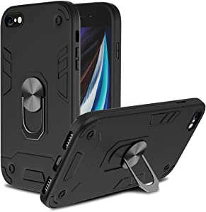 Case for iPhone SE 2020, Rugged Case for iPhone 7/8, Military Grade Protective Phone Case Heavy Duty Metal Ring Holder with Magnetic Car Mount Shockproof Case for iPhone 7/8/SE 2 (Black)