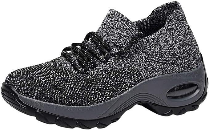 Zapatos Planos Deportes para Mujer,ZARLLE Zapatos Respirables Zapatillas Deportivas Tejidas voladoras Zapatos con Correa Casuals Zapatos de Malla Estudiante,Zapatillas Running: Amazon.es: Ropa y accesorios