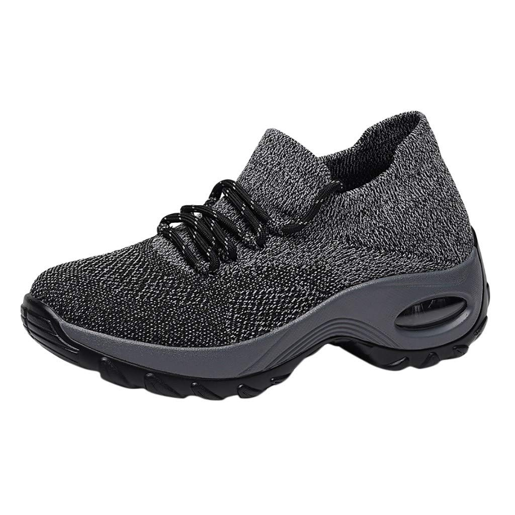 Haalife◕‿ Women's Walking Shoes Sock Sneakers - Mesh Slip On Air Cushion Lady Girls Modern Jazz Dance Easy Platform Shoes Gray