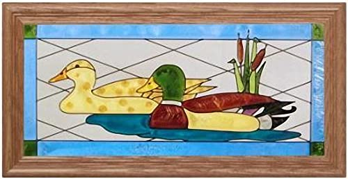 Keegan s Korner Mallard Ducks Horizontal Art Glass Panel with Wooden Frame 11 x 22