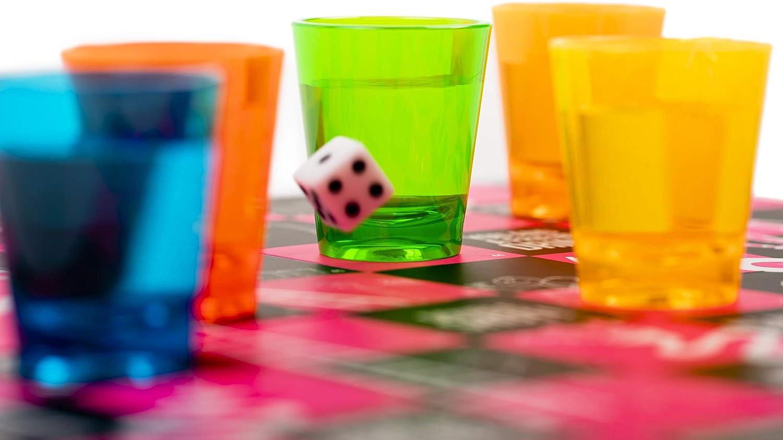 FUNNELS & LADDERS, El Mejor Juego de Mesa Beber Adultos| Juegos de Bebida con Vasos de Chupito y Dados de Juego| Divertidos Colores Brillantes| Snakes & Ladders Navidad Año Nuevo Cumpleaños Fiestas.:
