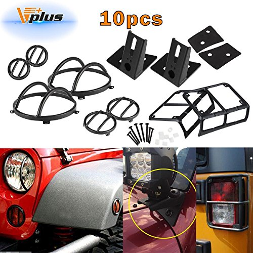 Vplus 10PCS Headlight Guard Covers & Tail Light Protectors & Front&Side Fender Guards &Lower Windshield Light Mounting Brackets for 07-17 Jeep Wrangler JK & Wrangler Unlimited