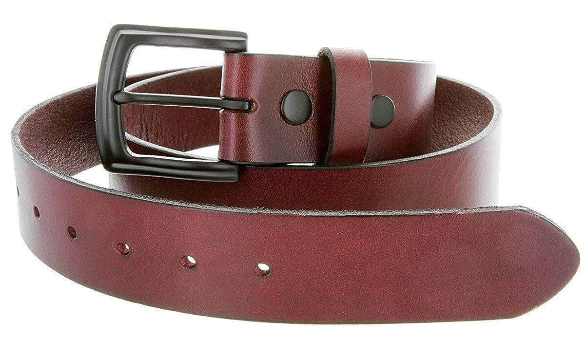 MONIQUE Men 1.5 Wide Burgundy Full Grain Cowhide Leather Metal Buckle Belt