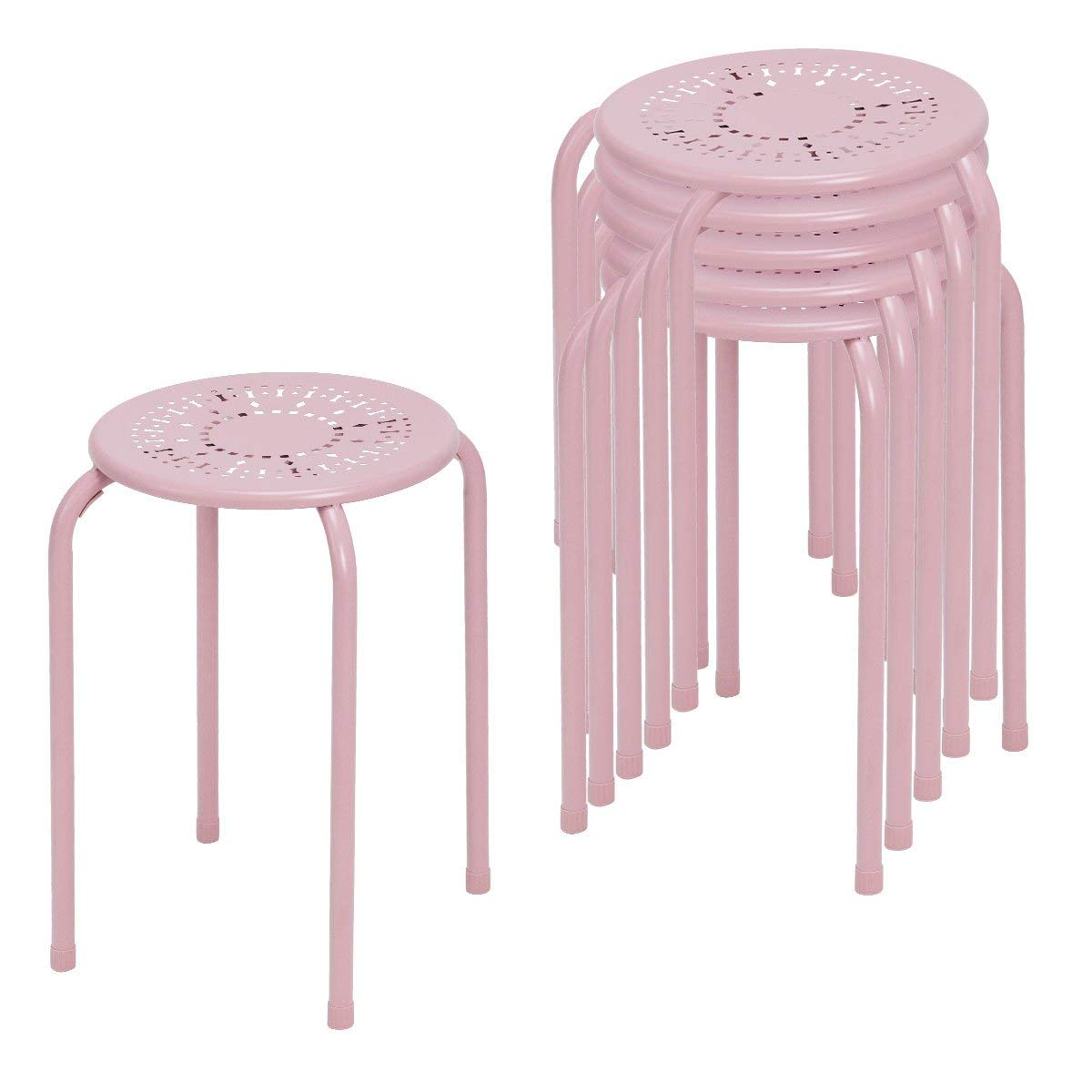 COSTWAY Metal Stool Daisy Design Stackable Backless Round Top stools for Kitchen Home, Garden & Living (6-Pack) (Pink)