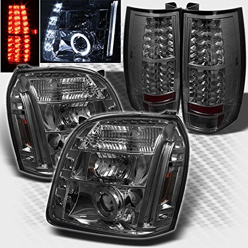 - Xtune For 2007-2014 GMC Yukon Denali Smoked Halo LED Projector Headlights + LED Tail Lights 2008 2009 2010 2011 2012 2013