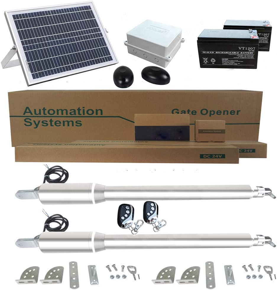 ECO LLC Solar Powered Heavy-Duty(600KG) Double Swing Automatic Gate Opener Kit Suitable for Opening Gates Up to 5M Wide and 50M Remote Control DC24V