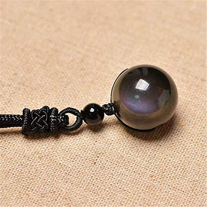 TYGJB 16mm Obsidienne Noire Arc-en-Ciel Perles Perles Boule Bijoux Pendentif en Pierre Transfert Chanceux Amour Bijoux en Cristal