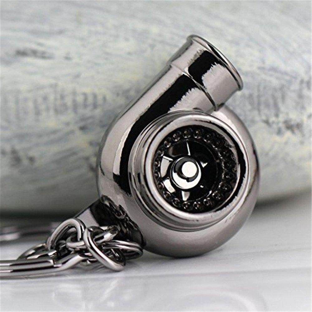 argento Hacoly Creative Spinning Turbo portachiavi in metallo turbina turbocompressore portachiavi Auto Parts modelli Key Fob Bag auto ornamenti ciondolo per uomo Souvenir regalo di compleanno