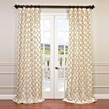 HPD HALF PRICE DRAPES Half Price Drapes EFSCH-14081B-108 Embroidered Faux Silk Taffeta Curtain, Tunisia Ivory