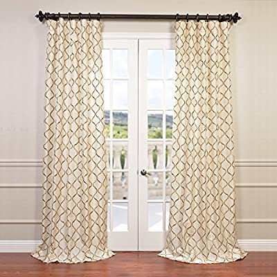 "HPD Half Price Drapes EFSCH-14081B-96 Embroidered Faux Silk Curtain, 50 X 96, Tunisia Ivory - Sold Per Panel 51% Polyester 49% Nylon | Lined & Interlined 3"" Pole Pocket with Hook Belt - living-room-soft-furnishings, living-room, draperies-curtains-shades - 61B0wuGTY6L. SS400  -"