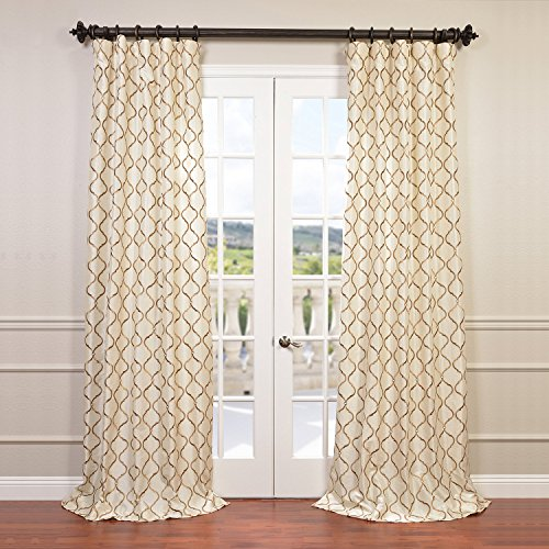Embroidered Faux Silk Curtain - HPD Half Price Drapes EFSCH-14081B-96 Embroidered Faux Silk Curtain, 50 x 96, Tunisia Ivory