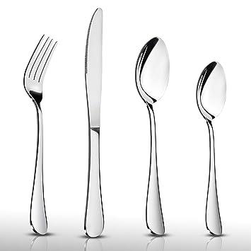 HaWare - Juego de cubiertos de acero inoxidable (24 piezas, incluye cuchillo/tenedor