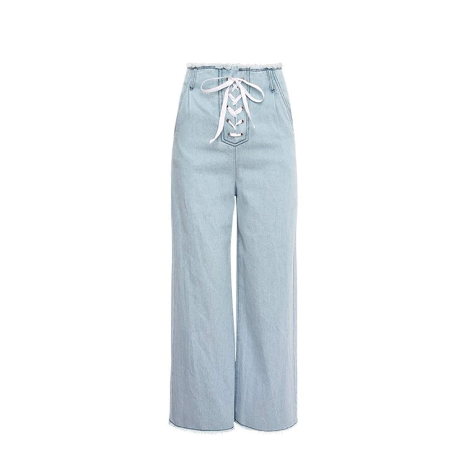 George Gouge Cotton Womens Jeans Drawstring Wide Leg Jeans ...