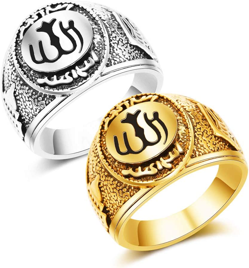 Jahrestag Bevorzugt Mode Hip Hop Muslimischer Islam Allah Ring F/ür Herren Verlobung Hochzeit Party Ringe Schmuck F/ür Geburtstag Gold,8 Valentinstag