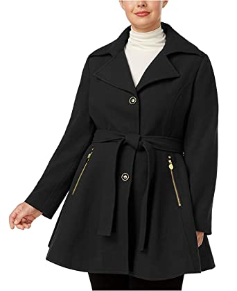 58fc817b496 Image Unavailable. Image not available for. Color  INC International  Concepts Women s Plus Size Skirted Walker Coat Black 1X