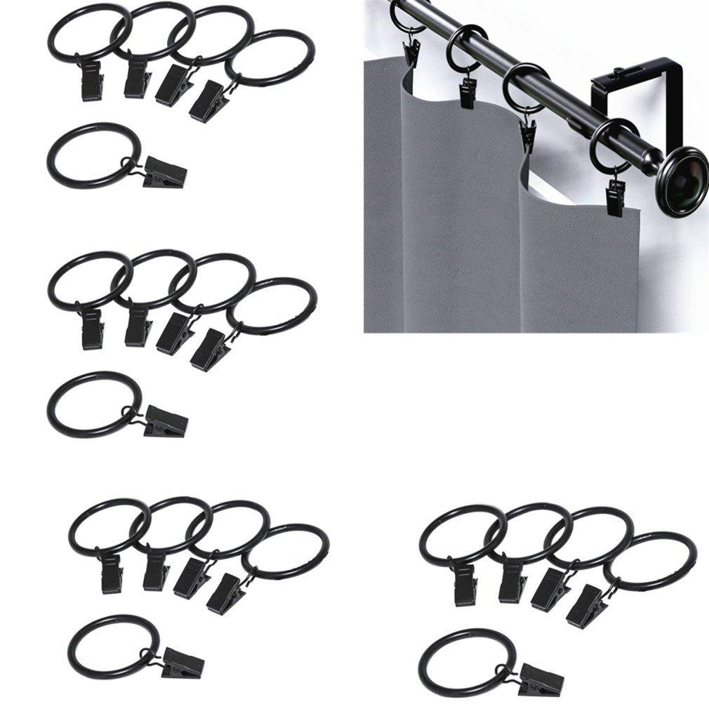 Qiorange Pack of 20 Rustproof Drapery Ring with Hook,Vintage Black,Stainless Steel Mental (Blcak 20Pcs)
