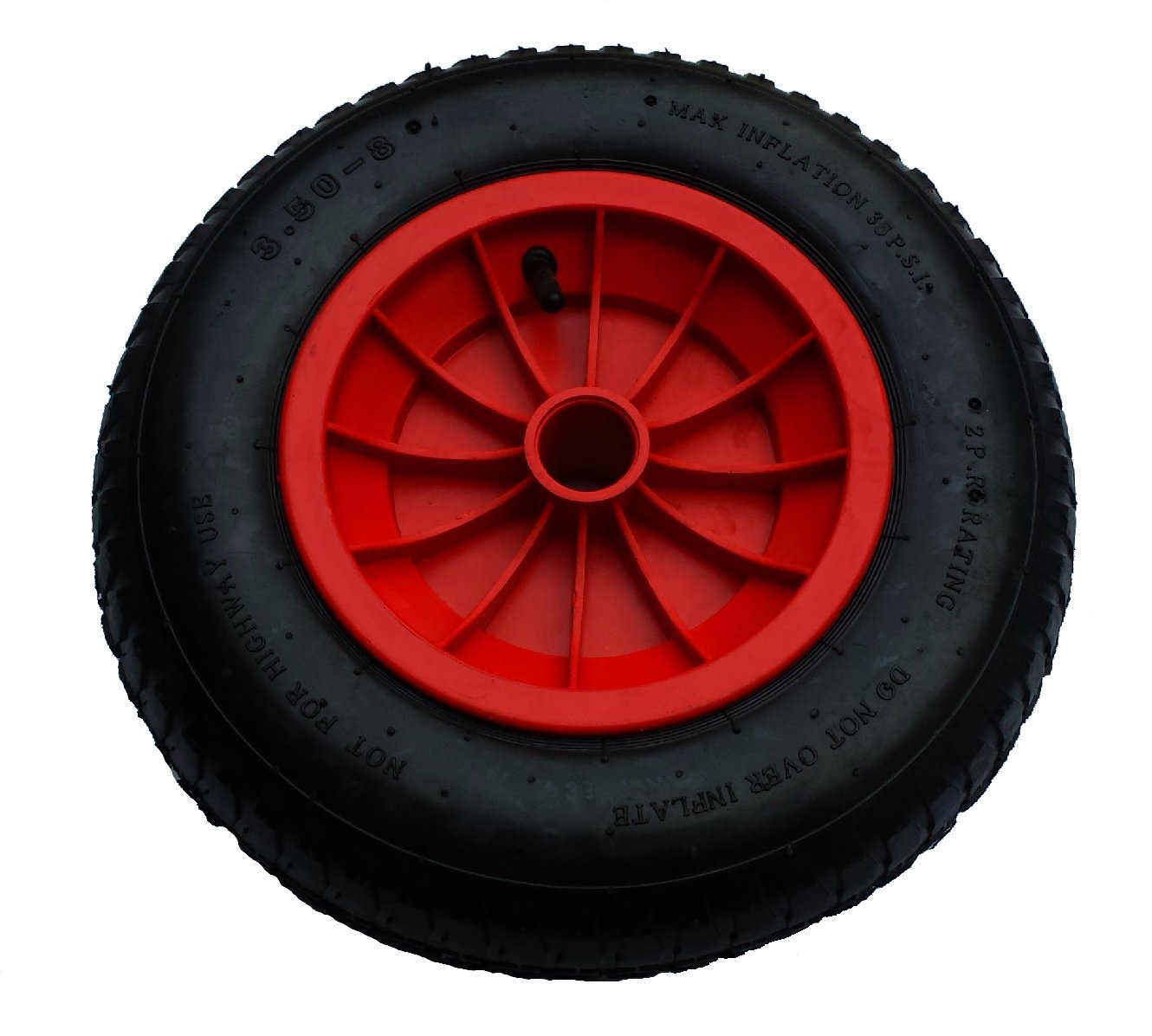 (35MM BORE) 14' Pneumatic Wheelbarrow Wheel / Inflatable Tyre / Garden.