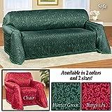 Alexandria Scroll Furniture Sofa Hunter Green Throw Cover