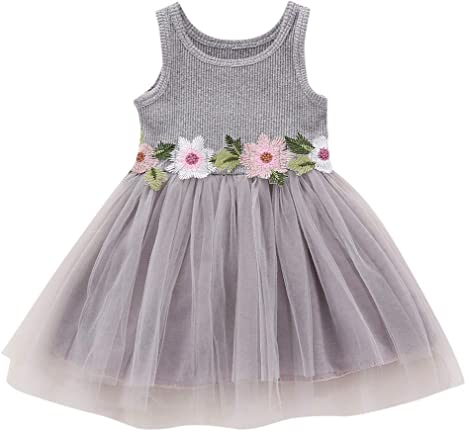 Perfect Toddler Baby Girls Sleeveless Dress Princess Floral Sundress Outfit 1-6T