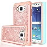 samsung phone cases for girls - J7 Case,Galaxy J7 Case with HD Screen Protector for Women Girls,LeYi Luxury Glitter Cute [PC Silicone Leather] Heavy Duty Protective Phone Case Cover for Samsung Galaxy J7 Neo J700 2015 TP Rose Gold