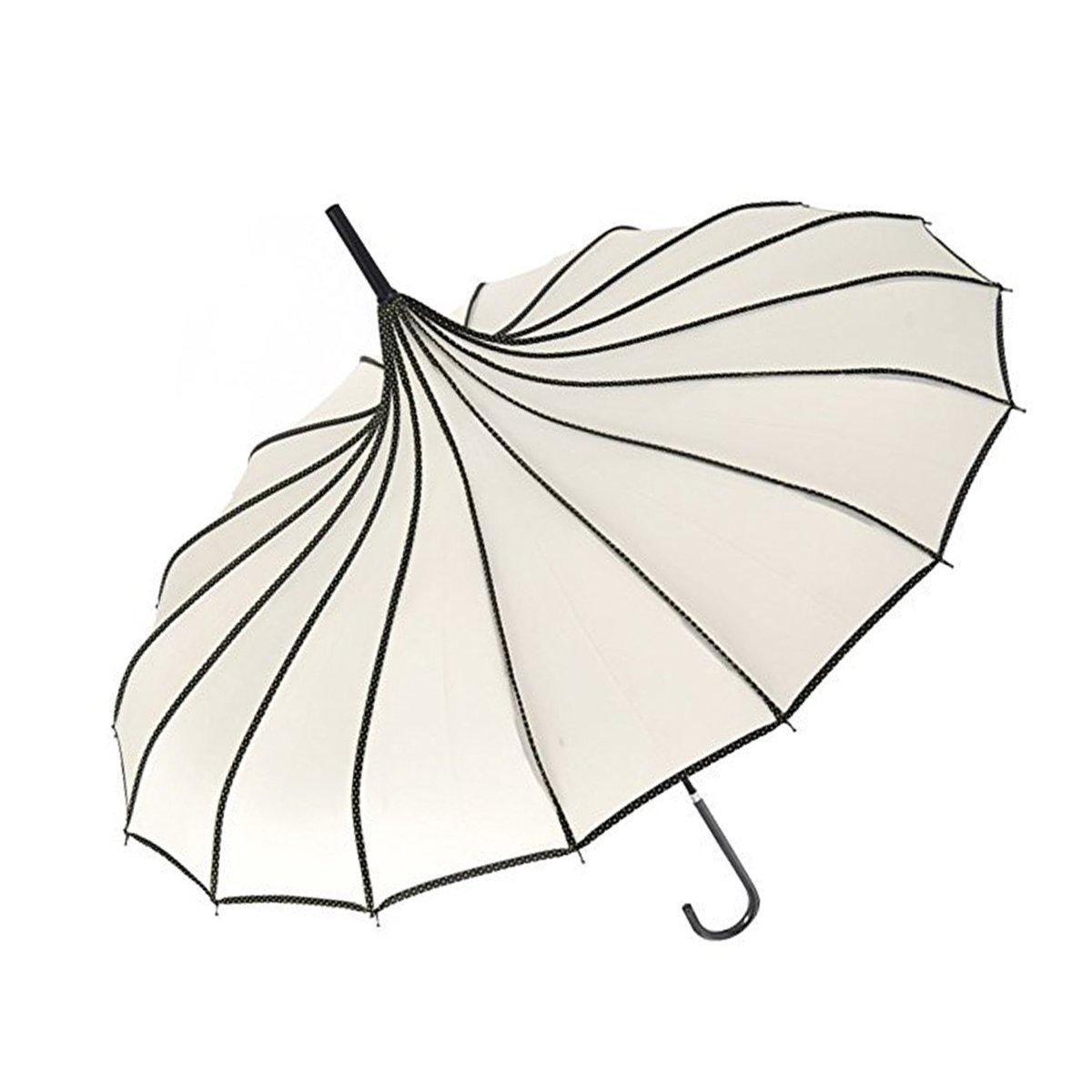 VIVI SKY(TM Pagoda Peak Old-fashionable Ingenuity Umbrella Parasol (Ivory)