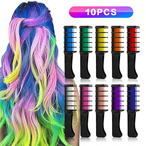 Hair Chalk Comb, 10 Color Temporary Bright Hair Chalk Set, AT MOUSE Washable Hair Color Combs, Hair Glitter Chalks, Birthday Gift For Girls Kids Hair Dyeing Party, Cosplay -