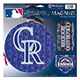 """Colorado Rockies MLB Prismatic 3 Different Die Cut Magnets On Single 11"""" x 11"""" Sheet Magnet"""