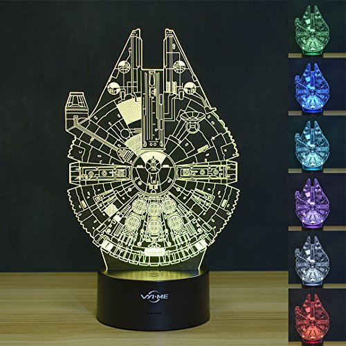 3D Illusion Led Lamps 7 Colors Touch Switch Table Desk Lamp for Home Office Theme Decoration and Children Family Holiday Gift(Millennium falcon)