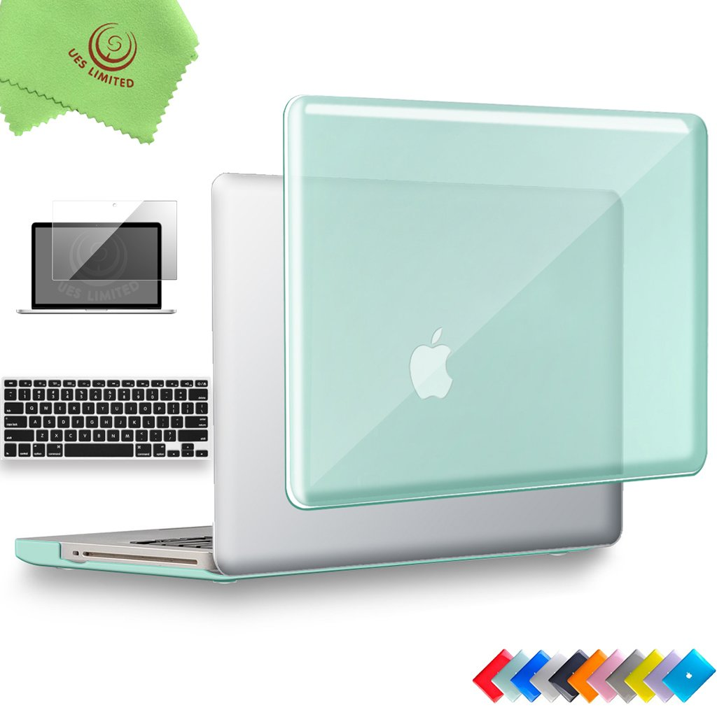 UESWILL 3in1 Glossy Crystal Clear See Through Hard Shell Case Cover for MacBook Pro 13'' with CD-ROM (Non-Retina)(Model:A1278) + Keyboard Cover and Screen Protector + Microfibre Cleaning Cloth, Green