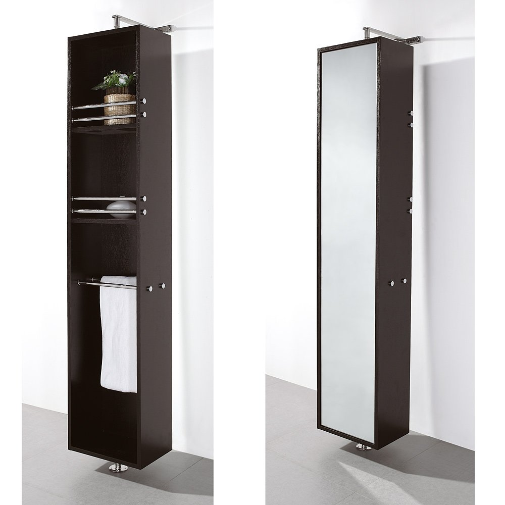Wyndham Collection Claire Linen Tower & 360 Degree Rotating Floor Cabinet with Full-Length Mirror in Espresso