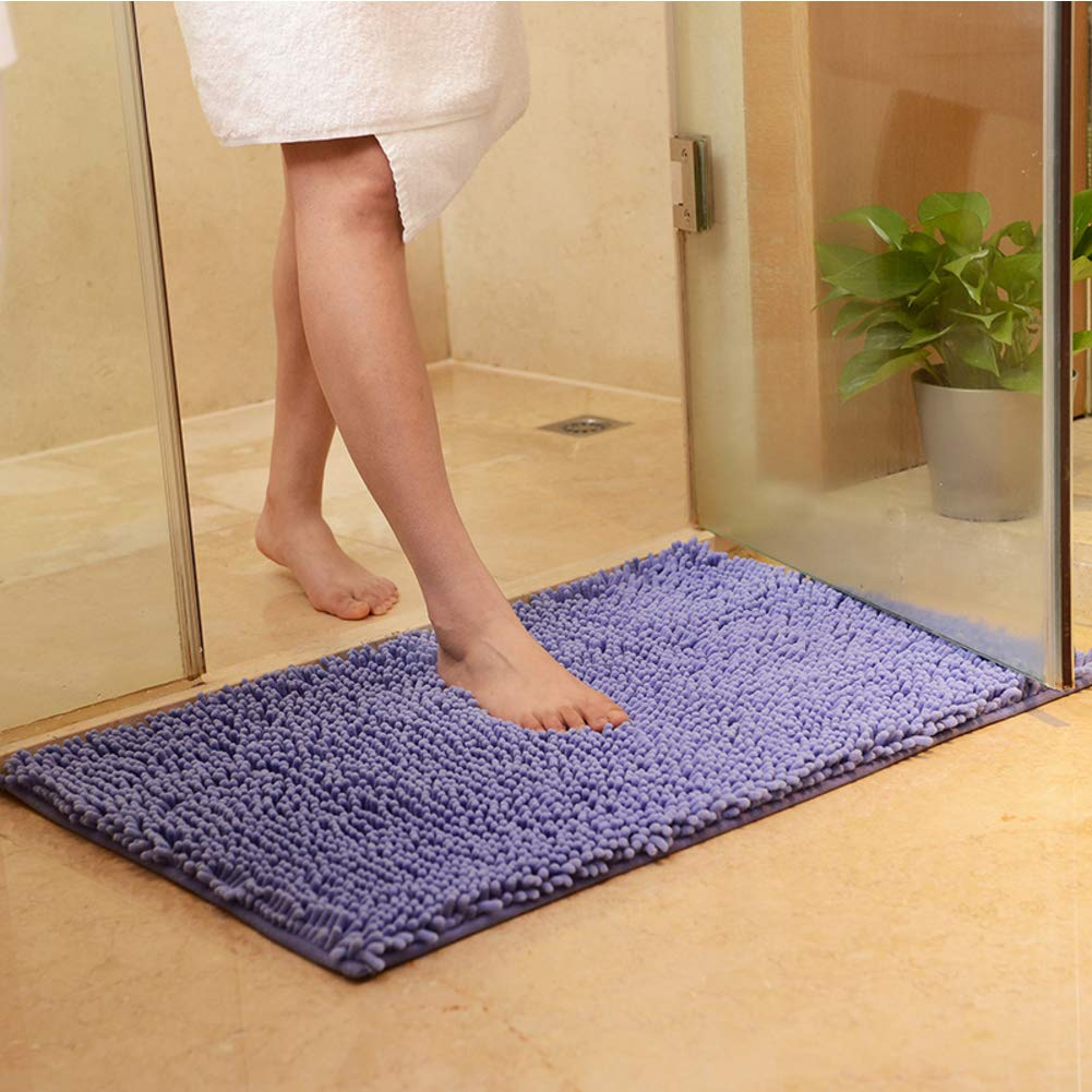 Nclon Chenille Bath Mat Soft, Water Absorbent Bath Rug Shaggy Machine Washable Bathroom Rug Bath Mat Restroom Bathroom-Purple 40x60cm