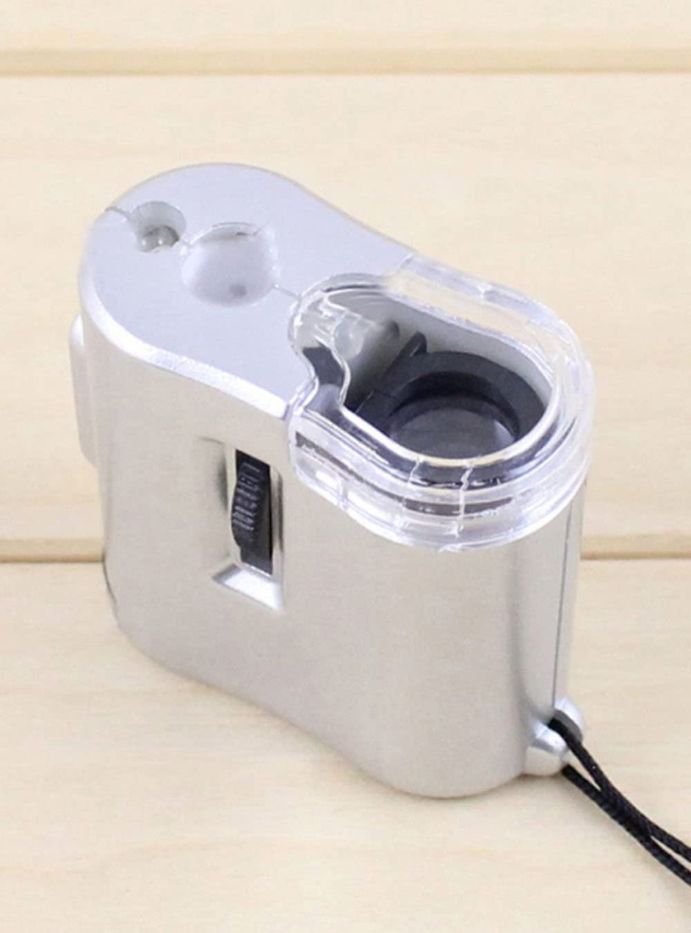 Color:Silver NIEGIENNA-60X Pocket Microscope pro Tools Mini Jewelry Loupe Magnifier Loop Jeweler with LED UV Light