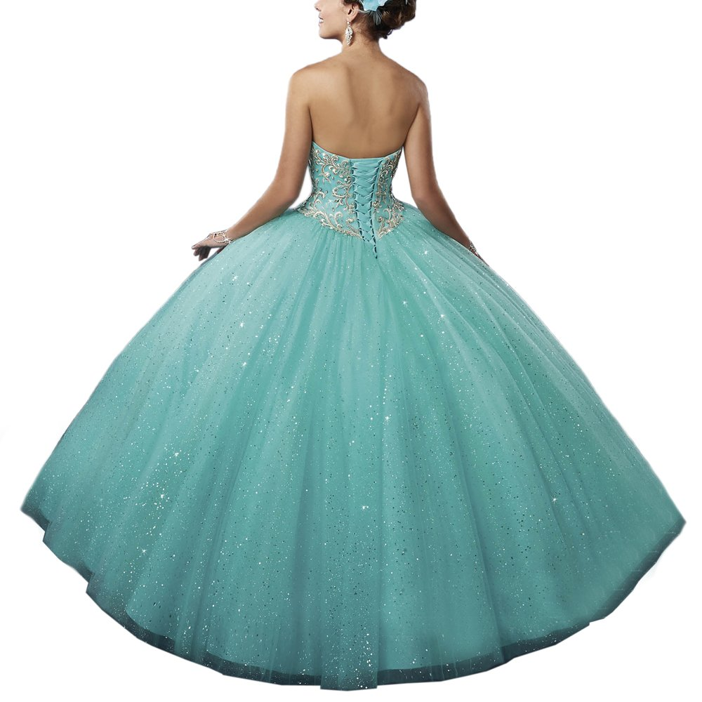Womens Turquoise Green Beading Sweetheart Ball Gown Long Quinceanera Dress at Amazon Womens Clothing store: