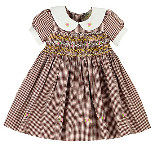 sissymini Mini Rose Buds Ghingham Brown Hand Smocked Girls Dress - Infant & Toddler ()