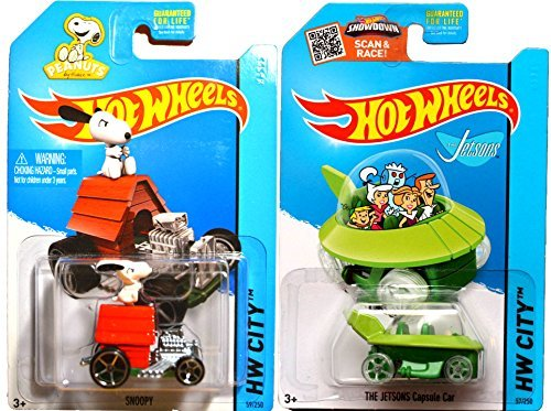 Hot Wheels Snoopy #59 & Jetsons #57 Peanuts & The Simpsons Tooned car set IN CASES 2015