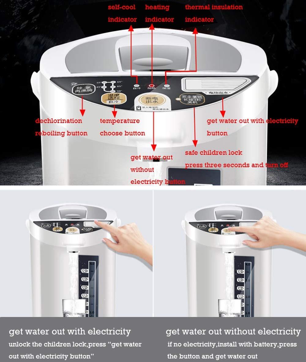 Hervidor eléctrico, hogar Hervidor eléctrico, Tetera de aislamiento de acero inoxidable 5L Calentador de la caldera con bloqueo de seguridad Calentador de ...