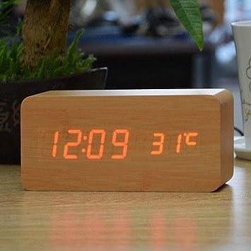 26b2187f072 Relógio Despertador Mesa Digital Tipo Madeira Com Sound Control 1299 ( Natural)