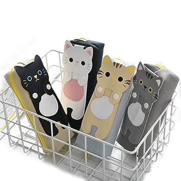 WRITIMN Conjunto de caja de lápices de 4 Kawaii Cats Caja de lápices Papelería Útiles escolares Lápices Almacenamiento Bts Estuches de lápices Suministro ...