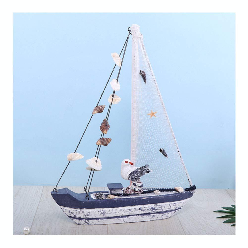 ヨットモデルの装飾 - 木造船帆船の家の装飾、ビーチ航海テーマ小鳥と貝殻,26*4.5*34cm B07T2JHRNJ  26*4.5*34cm
