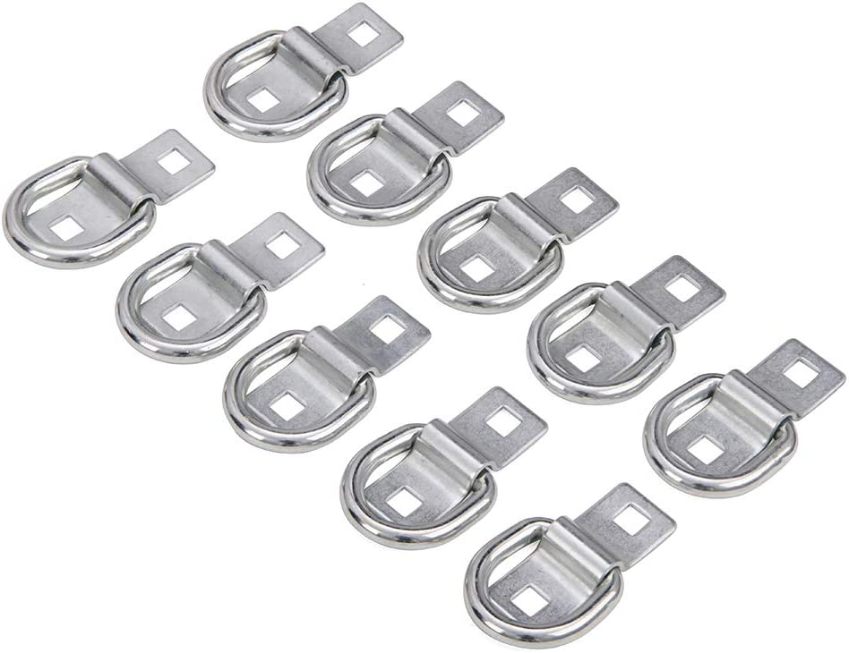Hydraker 10Pcs D Ring Tie-Down Anchors with Bolt-on Mounting Clips Heavy Duty Fit for Trucks Flatbed Trailers