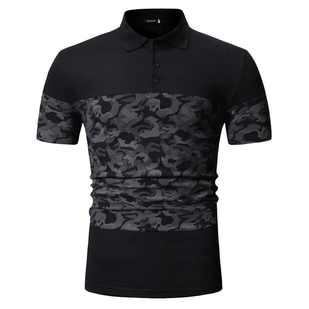 Hotkey Men's Short Sleeve Dress Shirts Men's Summer Camouflage Button Patchwork Short Sleeved Top Blouse