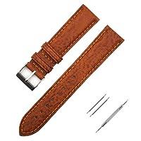 Cinturino Orologio, Fmway Vera Pelle Cinturino Cinturini Da Ricambio con Fibbia Acciaio per Uomo e Donna 18mm 20mm