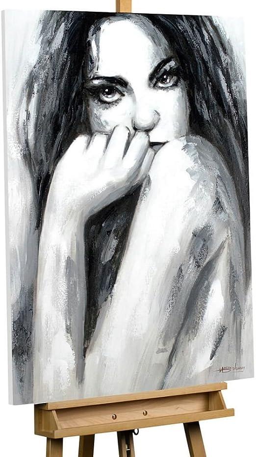 Shy Gesture 100 Original Hand Painted Canvas Art Loft Acrylic Painting Canvas Xxl Woman Black White Modern Seduction Acrylic Picture Modern Wall Art Design Wall Art With Frame Amazon De Kuche Haushalt