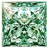 RINGJEWEL 1.00 ct VS1 Princess Cut Real Loose Moissanite Use 4 Pendant/Ring Greenish Blue Color