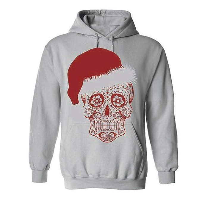 f2317ebe56bb HWTOP Sweatshirts Hoodies Damen Oberteil Hemd T-Shirt Pullover Locker  Weihnachten Sport Freizeit Schädel Print Kleidung mit Kapuzen Bluse Tops ...